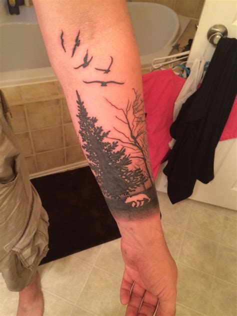 forest sleeve tattoos forest
