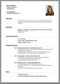 exles of cv internship application letter of employment