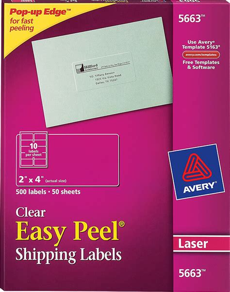 avery 174 easy peel 174 clear shipping labels 5663 avery