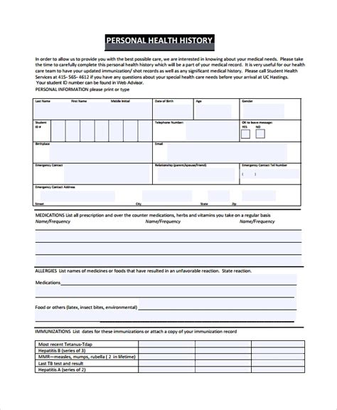 Personal Health Record Template Pdf 10 Health History Templates Sle Templates