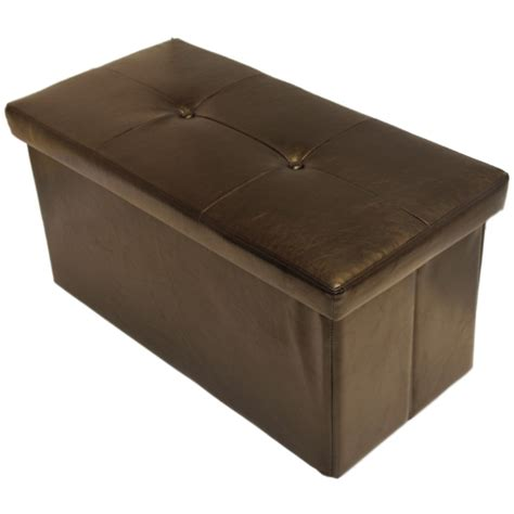 ottoman storage chest folding brown ottoman storage toy chest bedding box faux