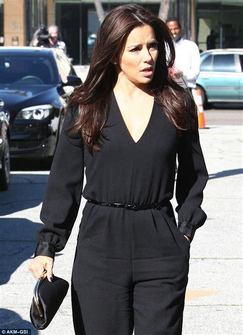 eva sharpe actress eva longoria wears a sexy black jumpsuit for political