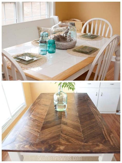 Tile Top Kitchen Table by From Tile Top To Herringbone Table Makeover Diy Wood