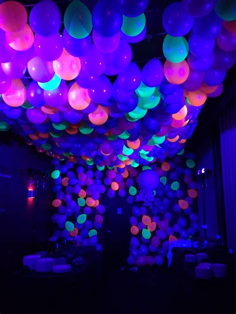 themed party lights neon ballon ceiling with black light balloon images