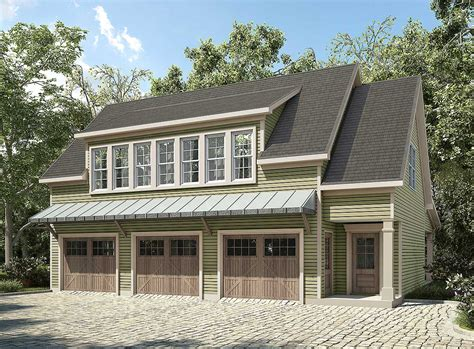 home garage plans plan 36057dk 3 bay carriage house plan with shed roof in