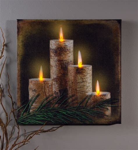 lighted trees home decor rustic country pre lit led birch tree candle print wall