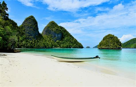 wallpaper coast boat indonesia raja ampat raja ampat