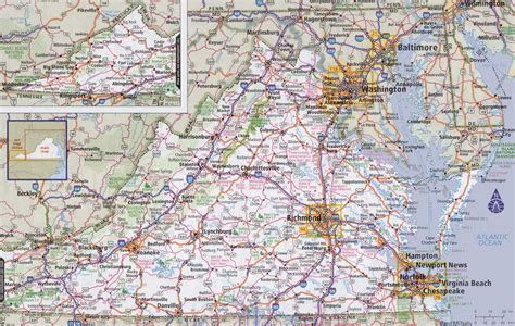 virginia on a map of the usa virginia road map