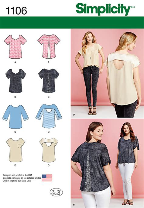 pattern review best patterns 2015 simplicity 1106 misses tops with fabric variations