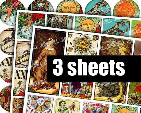 Printable Tarot Cards Download | medieval tarot digital printable collage sheets halloween