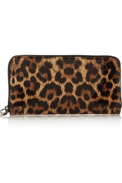 Christian Louboutin Panettone Wallet Leopard by Christian Louboutin Panettone Leopard Print Patent Leather Continental Wallet Net A Porter