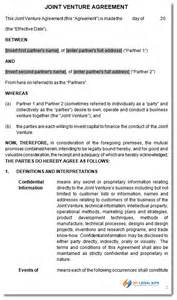 Joint Venture Agreement Template Free Joint Venture Agreement Contract Template