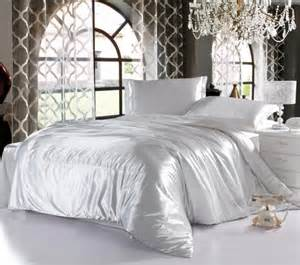 silk bedroom white imitated satin silk bedding cheap bedding sets full