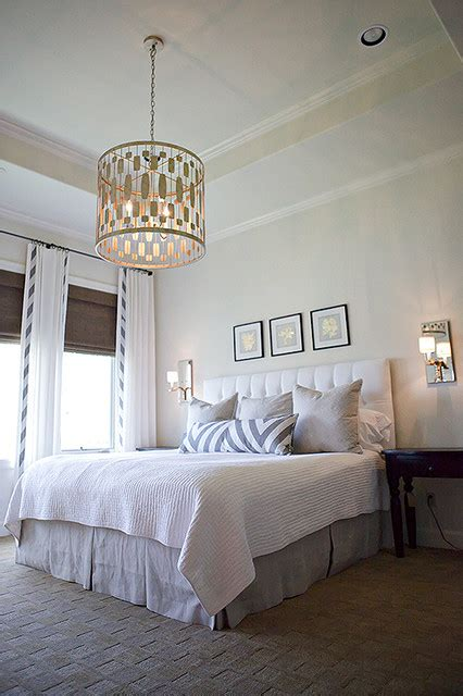 master bedroom worlds  chandelier schumacher fabric