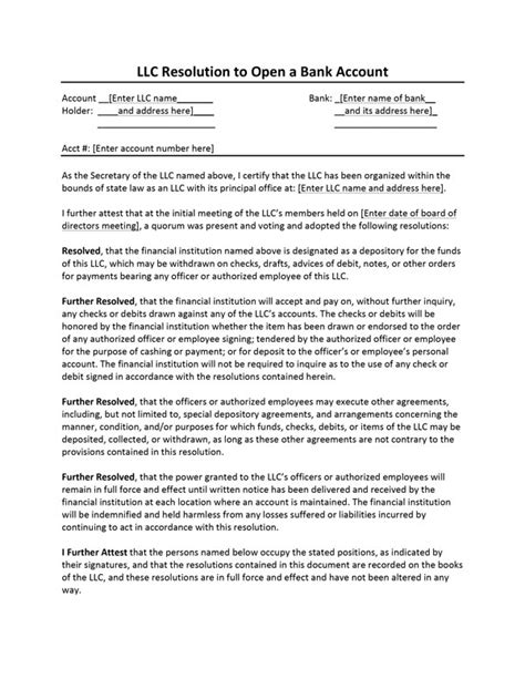 llc resolution template resolution letter open bank account sle sle letter