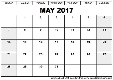 May 2017 Calendar Pdf Weekly Calendar Template Writable Calendar Template