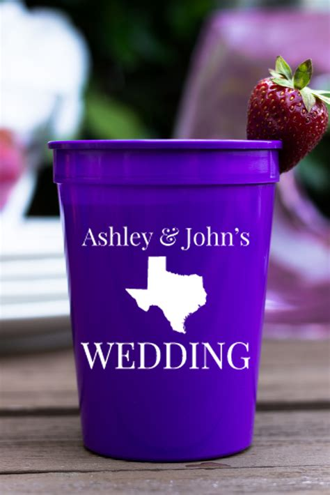 Wedding Favors Cups by Personalized Plastic Stadium Cups State Wedding