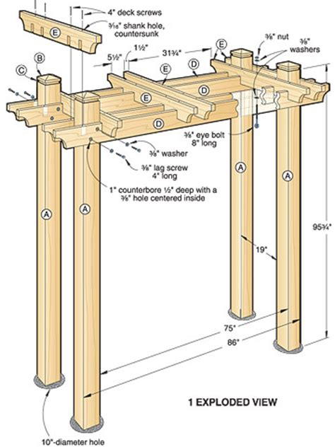 woodwork pergola swing arbor plans pdf plans