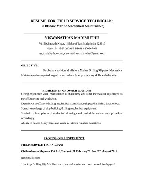 Field Resume Templates by Functional Field Service Technician Resume Template