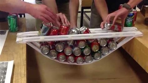 How To Make A Paper Bridge - paper bridge and soda cans