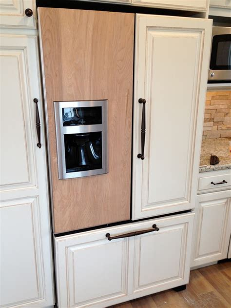 refrigerators that take cabinet panels custom panels for around an ice maker on fridge