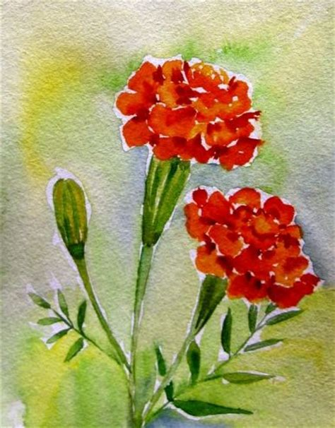 marigold paint quot marigold from my garden quot small watercolor painting by