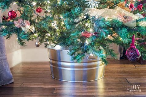 pictures of christmas trees in a wash tub metallic striped tree tubdiy show diy decorating and home improvement