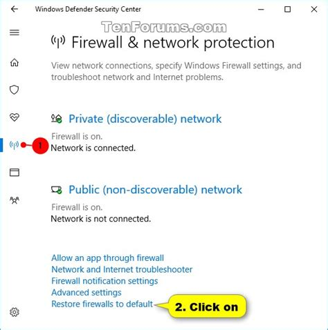resetting windows defender restore default windows defender firewall settings in