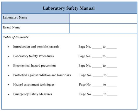 safety manual template free manual template for laboratory safety format of