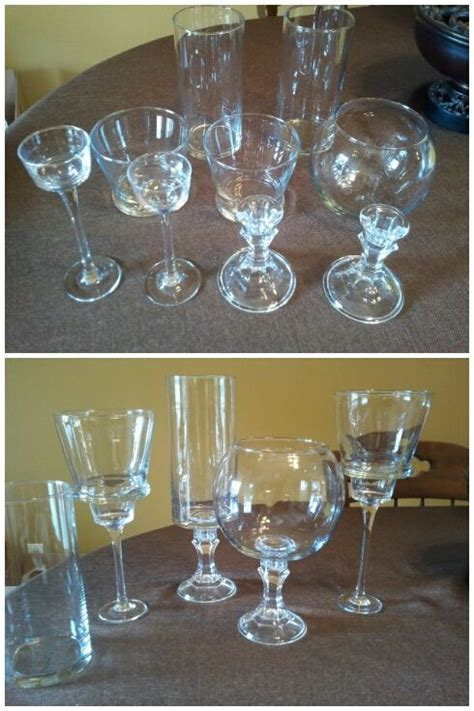 dollar tree table pedestal glassware for candy buffet made from dollar tree