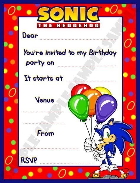 sonic birthday invitations  party ideas