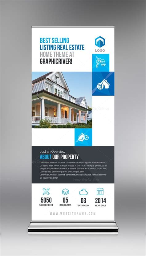 Elegant Real Estate Roll Up Banner Template 000694 Template Catalog Real Estate Banners Template