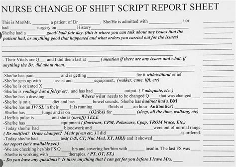 Awesome New Grad Or Experienced Nurse Change Of Shift Bedside Report Sheet Script Orienting Bedside Shift Report Template