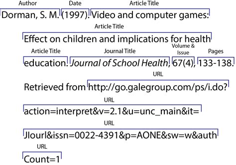 apa style format internet sources in text citation journal