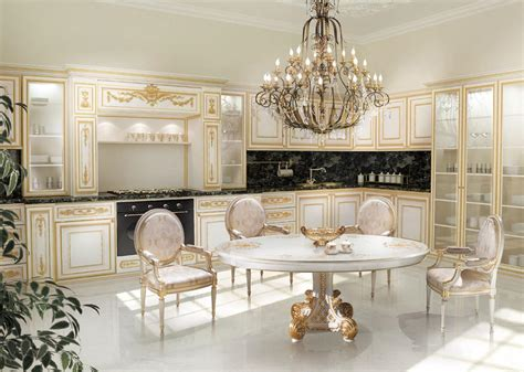 best designs of luxury kitchens in classic style kitchen in white and gold painted marble black tops