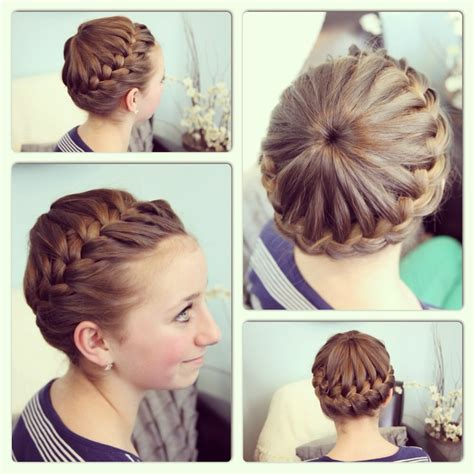 the triple braided bun with flower crown hairstyle design page 4 of most trendy classic prom hairstyles of long hairs crown