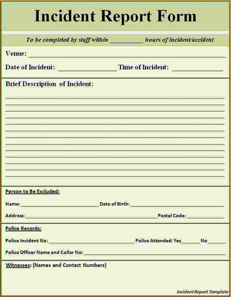 8 incident report form template printable receipt