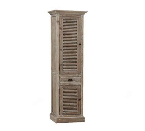 79 inch Distressed Linen Cabinet Rustic Finish, Floor