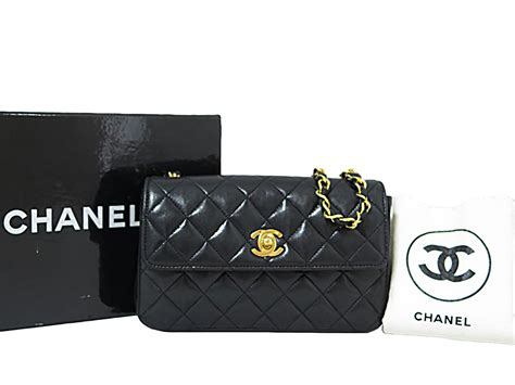 Chanel Calfskin Logo Flap Bag auth chanel cc logo small mini flap bag shoulder bag black