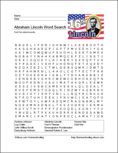 printable word search social studies lincoln word search science social studies pinterest