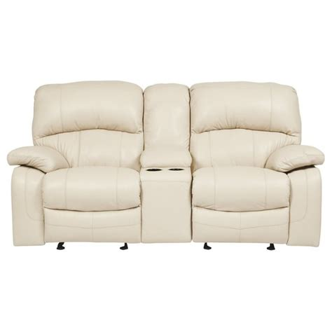 leather loveseat recliner with console ashley damacio leather power reclining console loveseat in