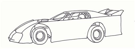 Late Model Dirt Track Cars Coloring Page Sketch sketch template