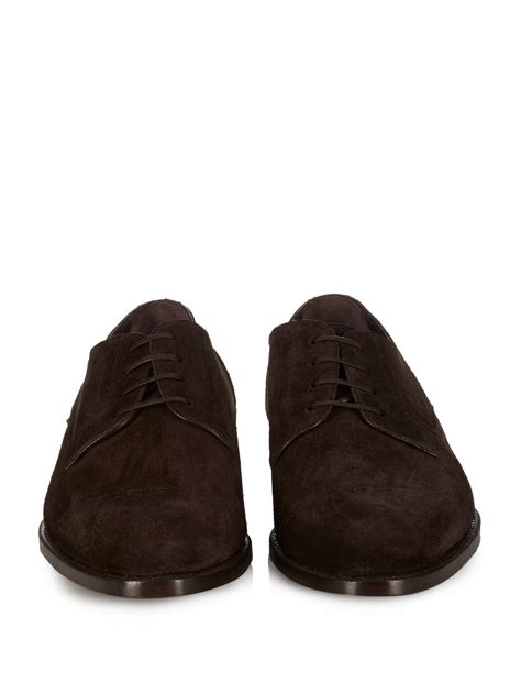 zegna shoes ermenegildo zegna lace up suede oxford shoes in brown for