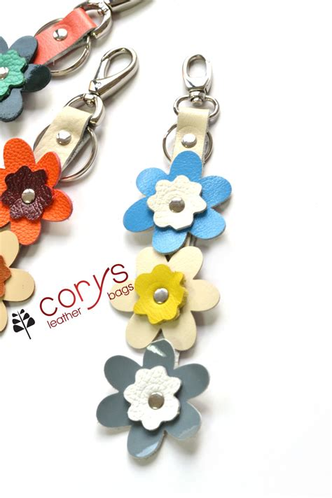 Handmade Bag Charms - handmade leather flowers keyring leather bag charm handbag