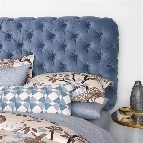 blue tufted bed urbanoutfitters com gt modern tufted velvet headboard