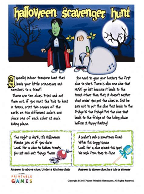 halloween scavenger hunt printable games