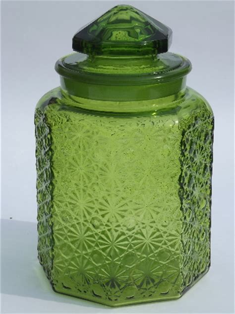 green glass canisters kitchen vintage green glass button kitchen counter