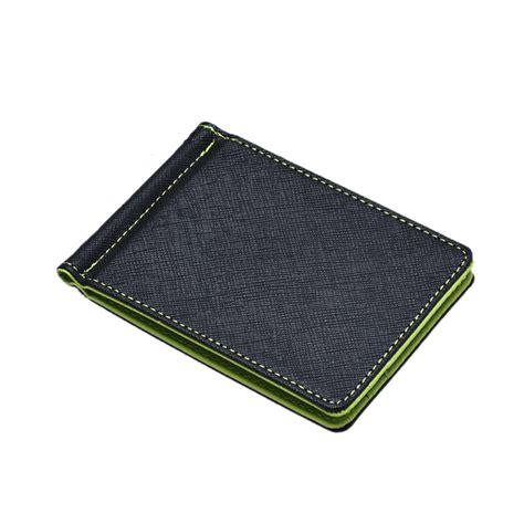 Silver Wallet mens leather silver money clip slim wallets black id