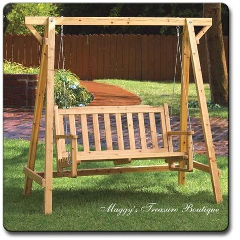 wood bench swing new rustic pine wood park garden bench swing ebay