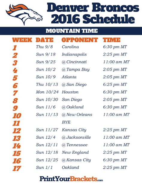 printable broncos schedule denver broncos 2016 schedule mountain time printable